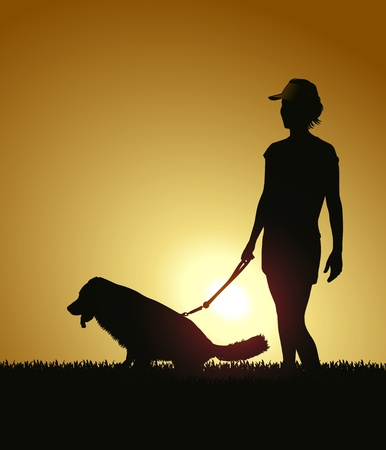 dog walking: Silhouette - Woman walking dog