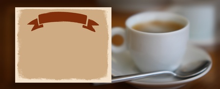 blank paper on fresh coffee