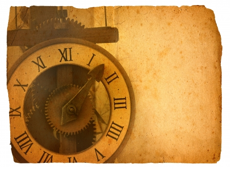 Antique clock on old paper � with path Stock Photo