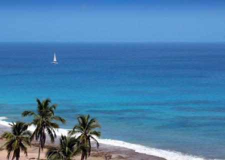 Boat on the tropical sea - Fernando de Noronha - Brazil Stock Photo