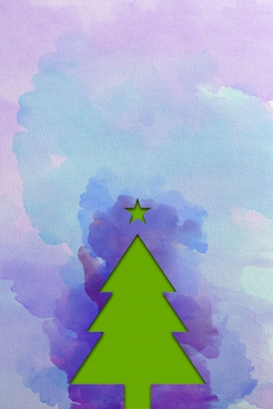 Christmas tree � watercolor Stock Photo