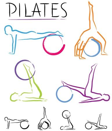 pilate: Cours de Pilates - vecteur de couleur