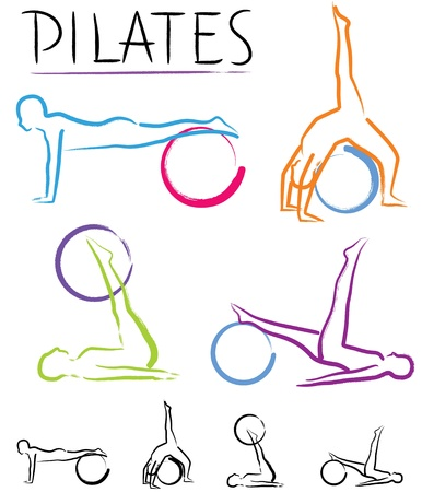 Pilates class - color vector