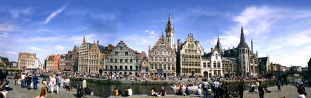 locals: Grasslei, Popular spot for locals and tourests, Ghent Stock Photo