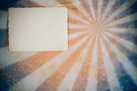 sun burnt: Sunburst retro grunge background with photo frame