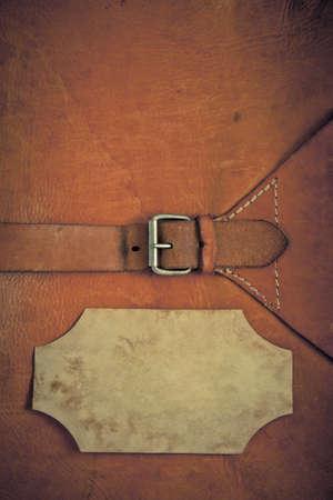 cuir: Fond en cuir vintage textur� avec cadre en papier Banque d'images