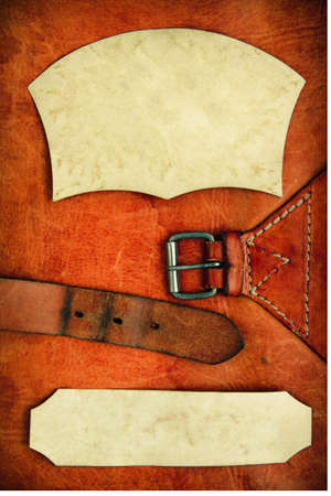 Vintage texture in pelle di sfondo con cornice di carta Archivio Fotografico