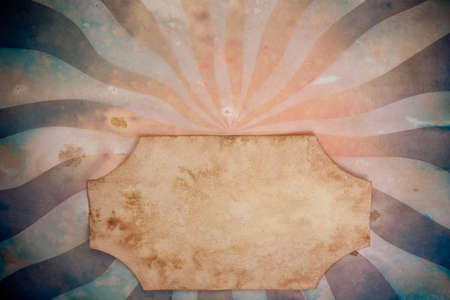 Sunbeam retro paper background with grunge frame for text photo