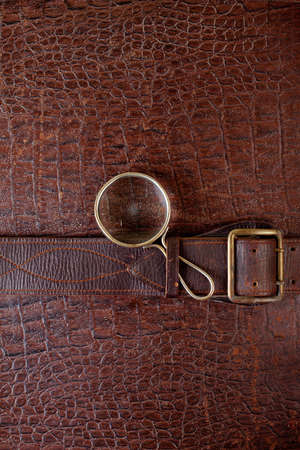 Vintage crocodile leather textured background with magnifying glass photo