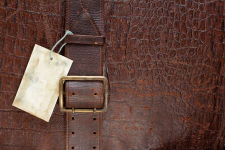 Vintage crocodile leather textured background with price tag blank photo