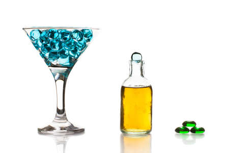 color mixing: Glass with water gel. Color mixing concept Stock Photo