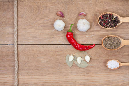 Red chilli pepper, garlic, bay leaf, spices in spoons, rope on oak wood texture background photo