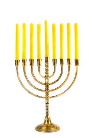 menorah: Hanukkah menorah with candles