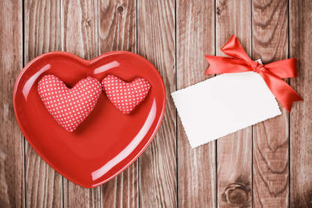 Valentine card with heart smile plate Stock Photo - 17836067