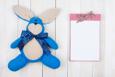 Easter rabbit and notepad on white wood background Stock Photo - 18215889