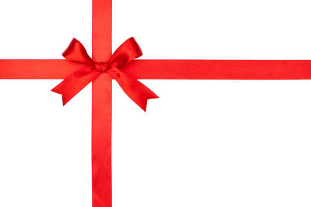 Red gift bow and ribbon on white background photo