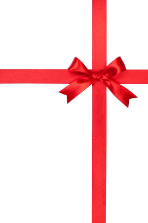 Red gift bow and ribbon on white background Imagens - 18724812