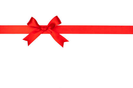 Red gift bow and ribbon on white background Banco de Imagens