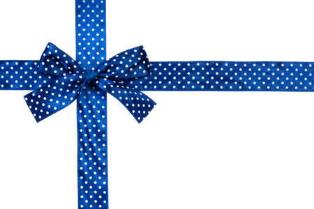 Blue gift bow and ribbon on white background Banque d'images