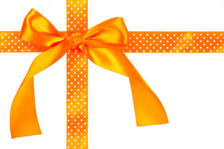 silk bow: Orange gift bow and ribbon on white background Stock Photo