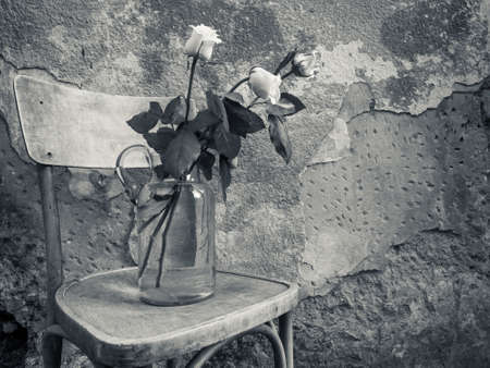 Flowers in vintage glass vase near the old wall Stock Photo - 18724760