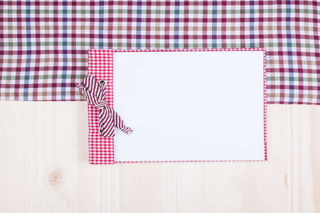 Recipe cook notepad, tablecloth on white wood background