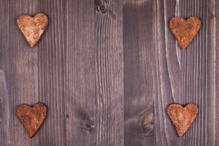 Hearts on wood background Stock Photo - 19742110