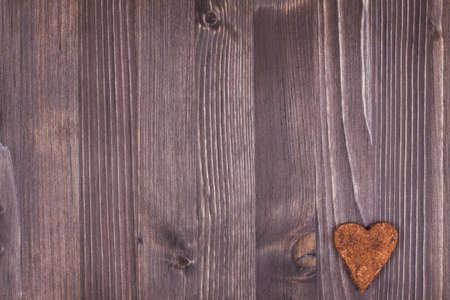 Vintage wood texture background with love heart photo