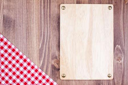 Menu bord, tafelkleed textiel op houten achtergrond