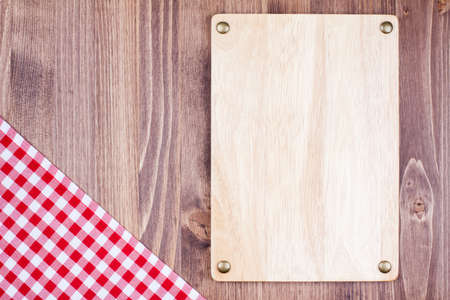 Menu sign board, tablecloth textile on wooden background