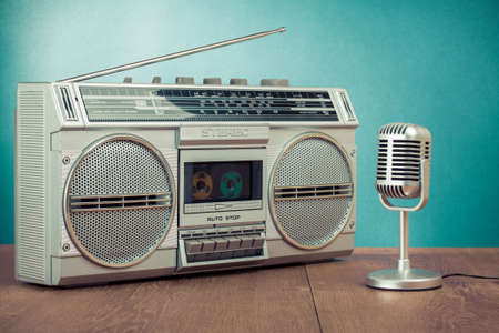 blaster: Retro radio and cassette player, microphone on mint green background