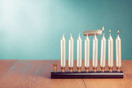 Hanukkah menorah with burning candles concept 版權商用圖片