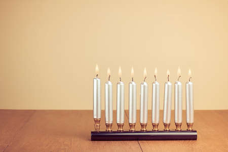 Hanukkah menorah with candles