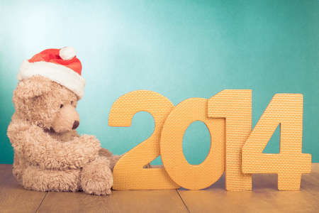 Greeting New Year card with Teddy Bear and date Banque d'images