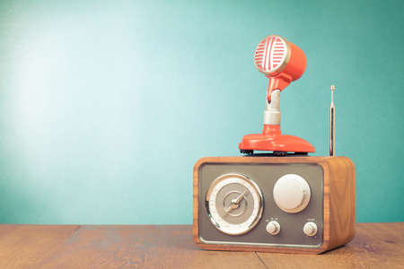 commentator: Retro radio, red microphone old style photo