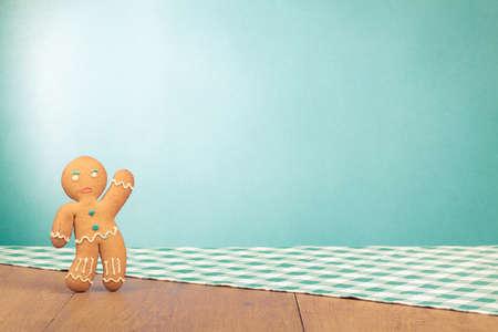Gingerbread Man conceptual photo for Christmas card background Banco de Imagens