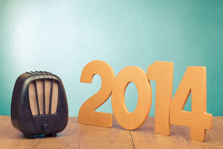 Retro radio and 2014 New Year date photo