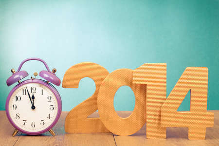 Retro clock and New Year 2014 date number Banque d'images