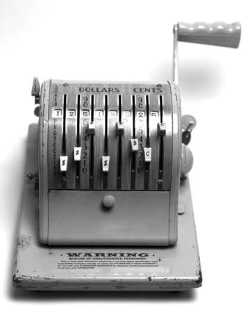Vintage Check Writing machine in B&W