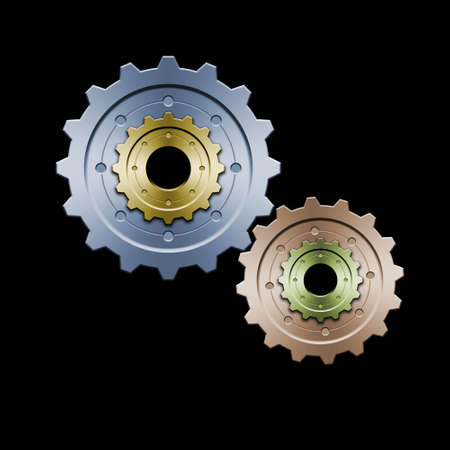 interlaced: Drawing of connected gears. Great for web layouts. This is the colorized version