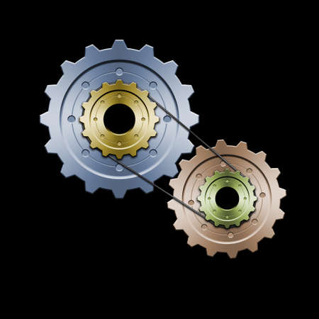interlaced: Drawing of belt connected gears. Great for web layouts. This is the colorized version Stock Photo
