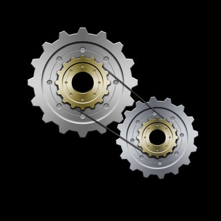 Drawing of belt connected gears. Great for web layouts. This is version with minimal color.