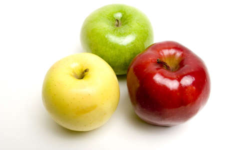 Red green and yellow juicy apples