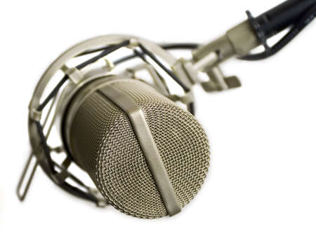 Studio microphone isolated (view from the top) Stock Photo