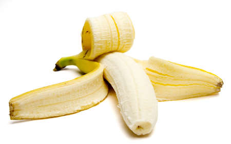 Close-up of a Peeled banana, isolated with