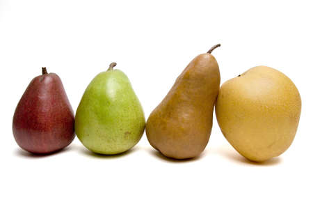 Four Colorful pears in a row. Red, green, brown and yellow.
