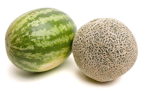 watermelon and cantaloupe side by side. Isolated with . Stock Photo