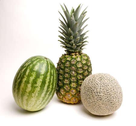 watermelon, pineapple and cantaloupe