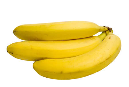 Three bananas on side. Isolated on white with