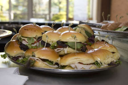 deliciously: A plate full of deliciously looking sandwiches in the cafeteria